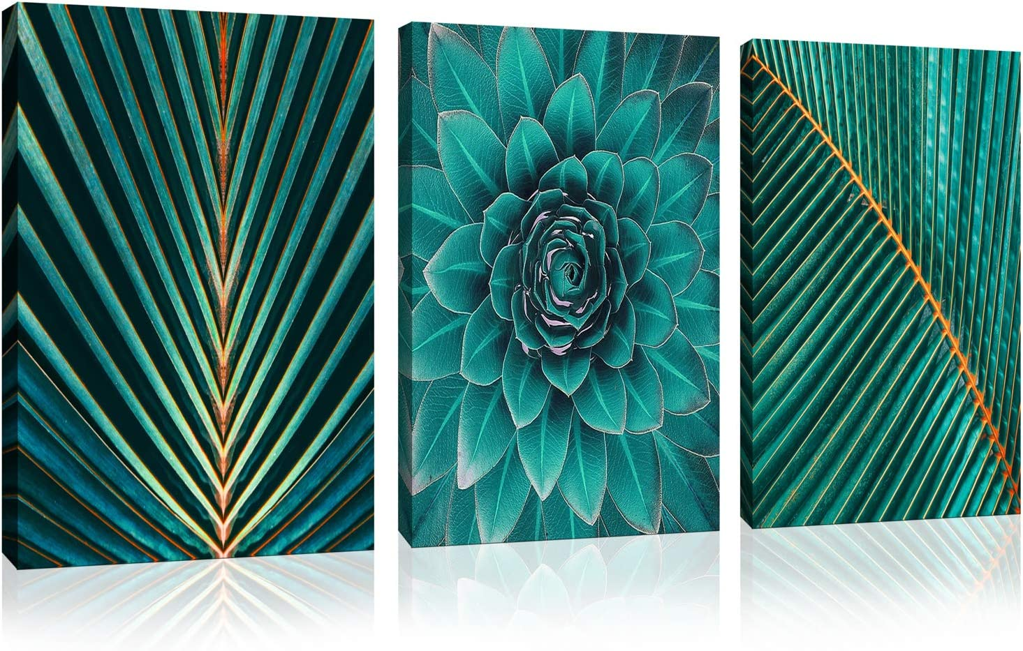 "Green Leaf Wall Art for Bathroom Canvas Print Modern Abstract Art Decoration Tropical Plant Banana Leaf Wall Decor for Bedroom Each piece size 12"" x 16"" inches"