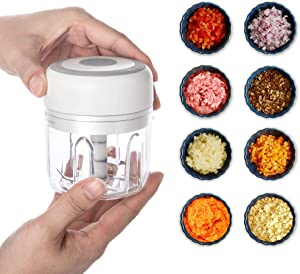 Electric Garlic Chopper,8.5oz Wireless Mini Food Chopper, Portable Food Cutter Mincer for Dicing, Ginger, Chili, Fruits, Onions, Vegetable