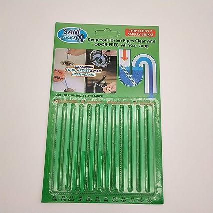 Terra Tu Abridores de Drenaje, Sani Sticks Los Palos de Drenaje ayudan a prevenir los bloqueos Que Forman un Paquete (12 Unidades) (Green)
