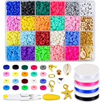 Zoyomax 4000 Pcs Clay Beads 6mm 20 Colors Flat Round Polymer Clay Spacer Beads with Pendant Charms Kit and 4 Roll…
