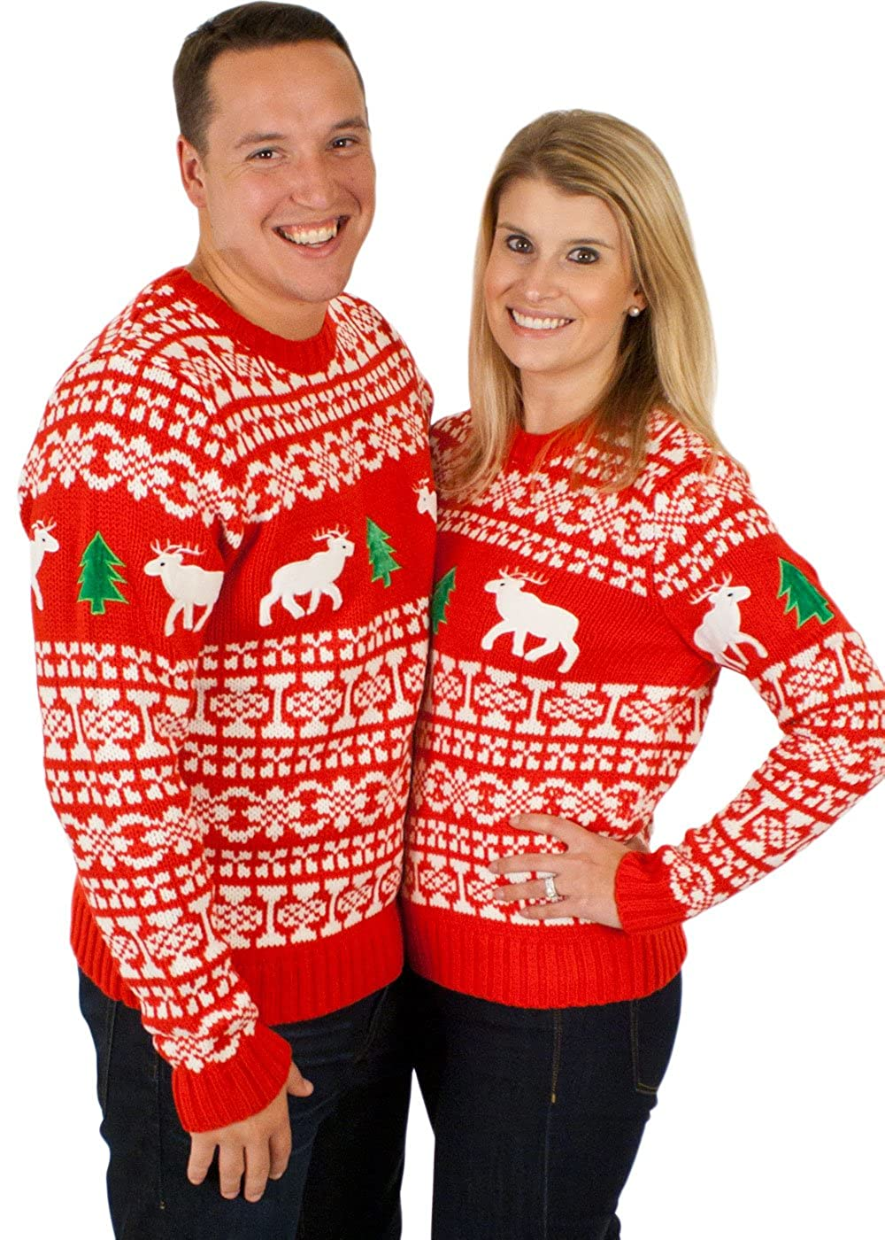 Ugly Christmas Sweater - Holiday Reindeer Pullover Sweater in Red X ...