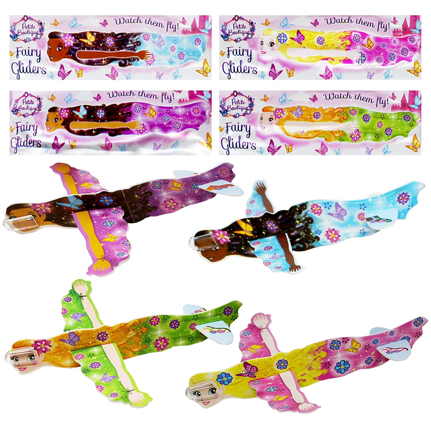 Party Bag Filler Birthday Assorted 4 ASSTD DESIGNS New! 12 Fairy Poly Gliders
