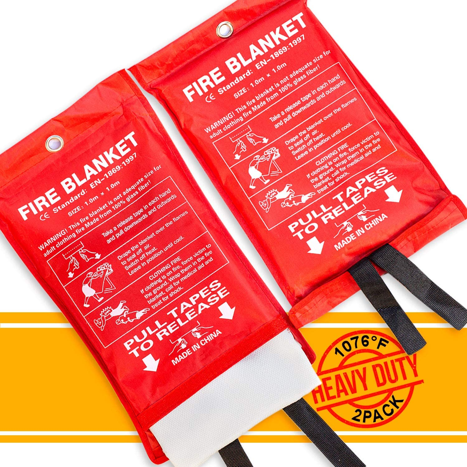 PADOMA Fire Blanket Fire Suppression Blanket (2 PACK) Heavy Duty Fiberglass Cloth, Emergency Fire Safety Blanket Reusable For People, Designed For Kitchen, Fireplace, Grill, Car, House, 39.3X 39.3inch