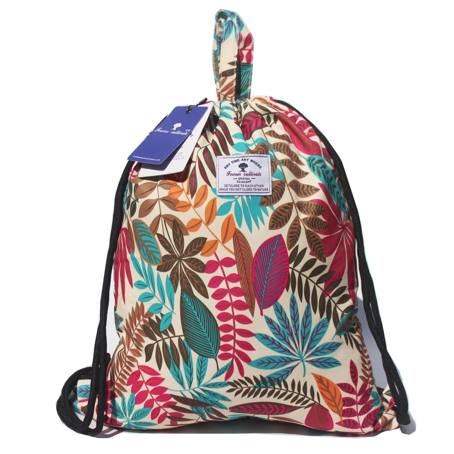 Drawstring Backpack Original Tote Bags for Gym Hiking Travel Beach 2 Sizes ([S] L Size - Flower Leaf)