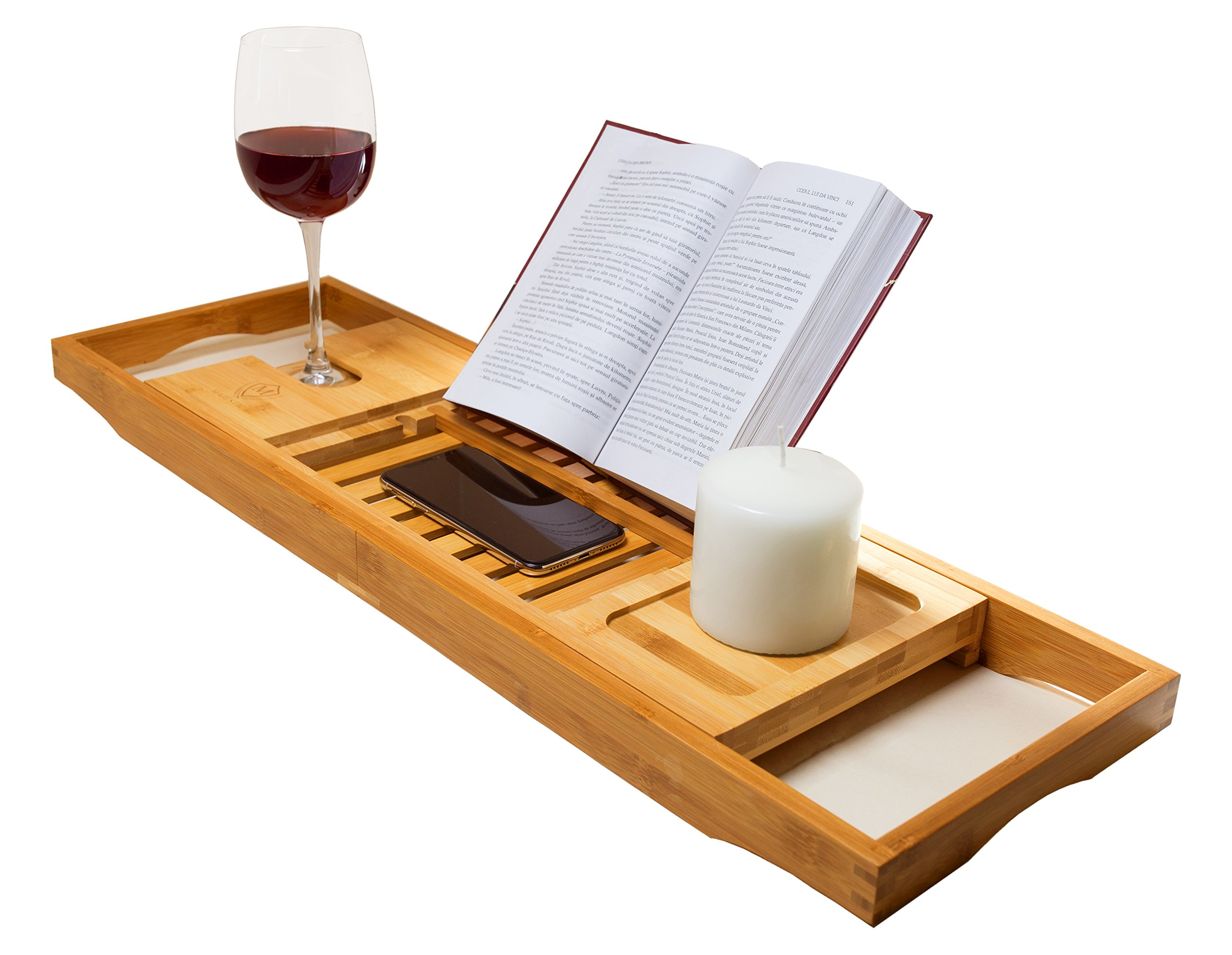 Majestic Bamboo Bathtub Caddy Tray, Reading Rack, Tablet Holder, Cellphone Tray, Wine Glass Holder, Luxury Spa Organizer with Extending Sides