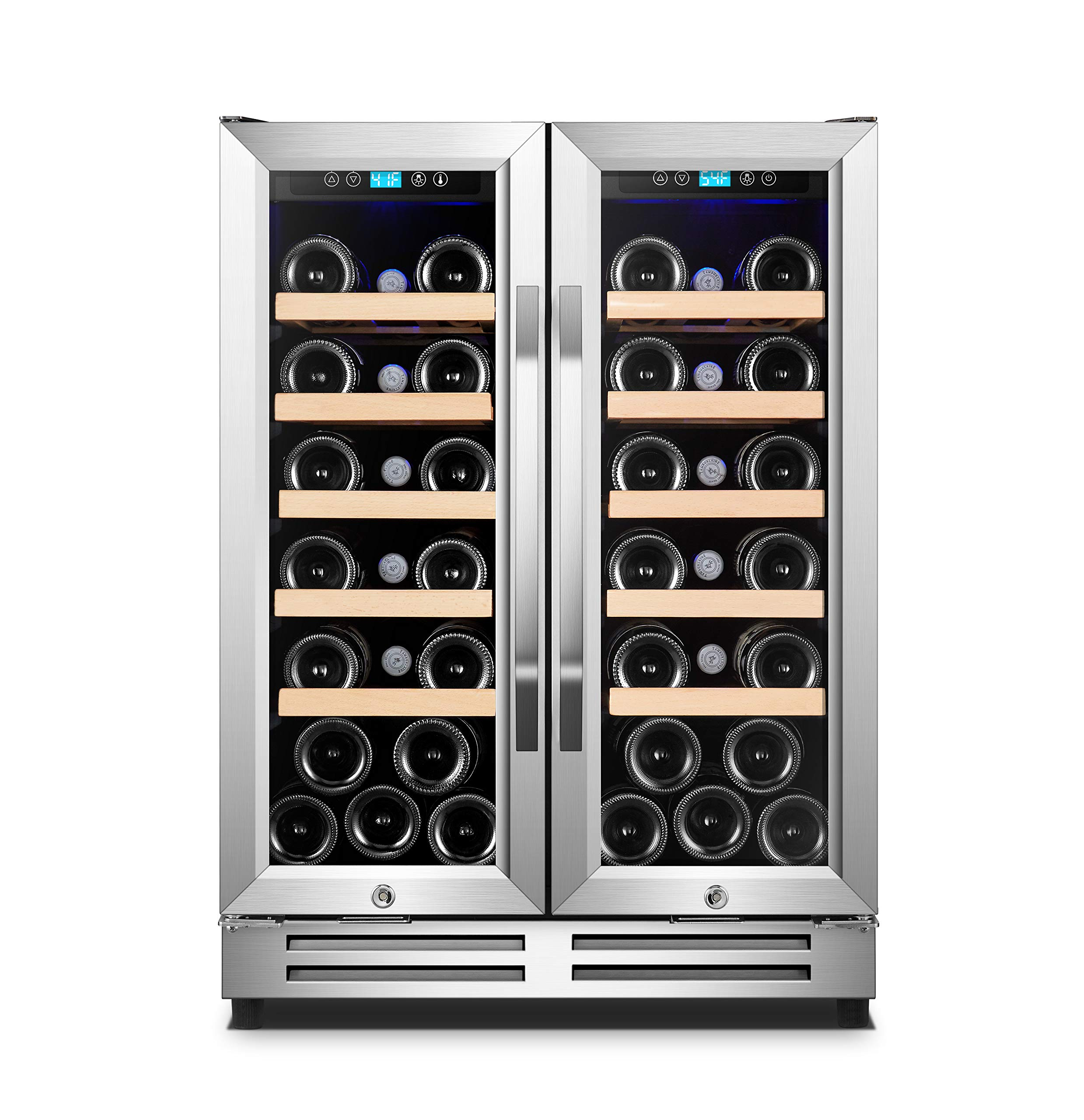 Karcassin Wine Cooler Refrigerator - Compressor Wine Chiller - Dual Temp Zones wine fridge for Red & White - Stores upto 36 Bottles - Silent with Low Vibrations - Freestanding or Built-in by Karcassin