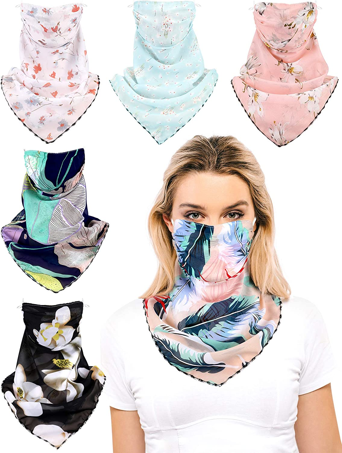 Womens Face Bandana Scarf UV Summer Neck Gaiter Cover Ear Loops Lightweight Floral Chiffon Balaclava for Dust,Cycling,Fishing