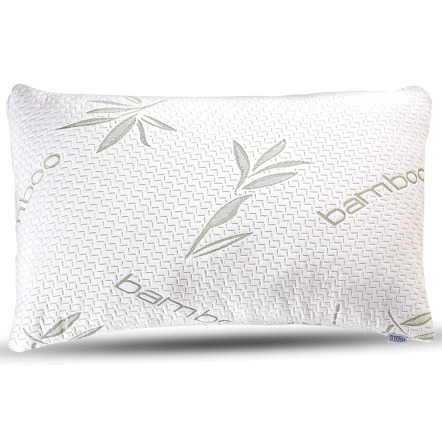 Sleepsia Bamboo Pillow - Premium Pillows for Sleeping - Memory Foam Pillow with Washable Pillow Case - Adjustable (Queen)