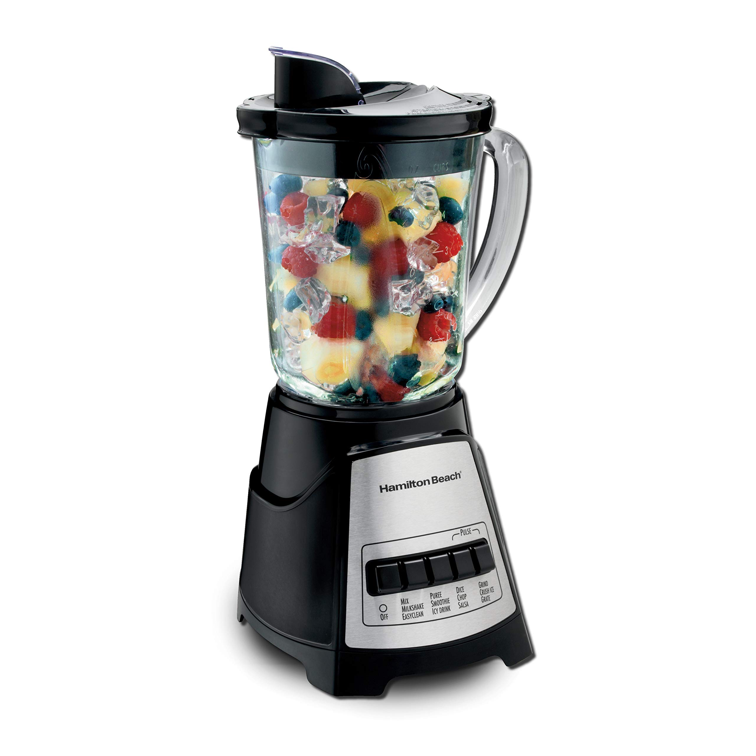 Hamilton Beach 58148A Blender to Puree – Crush Ice – and Make Shakes and Smoothies – 40 Oz Glass Jar – 12 Functions…