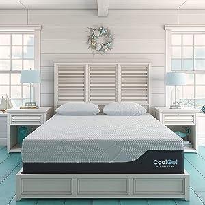 Classic Brands Cool 2.0 Ultimate Gel Memory Foam 14-Inch 2 Bonus Pillow Mattress, California King, White