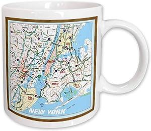 3dRose Framed NYC Boroughs Ceramic Mug, 11-Ounce