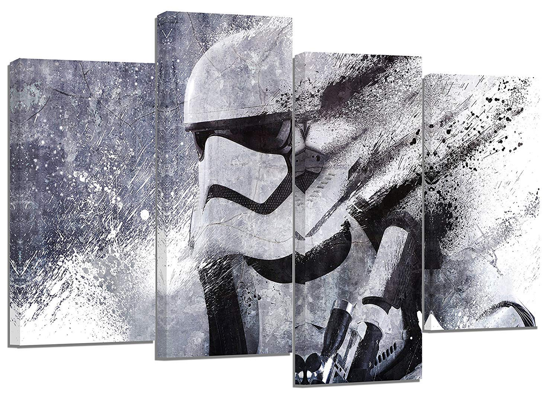 4er Set Leinwanddruck Kunstwerk, Star Wars Stormtrooper-Motiv, geteilt, geteilt, 110 x 70 cm