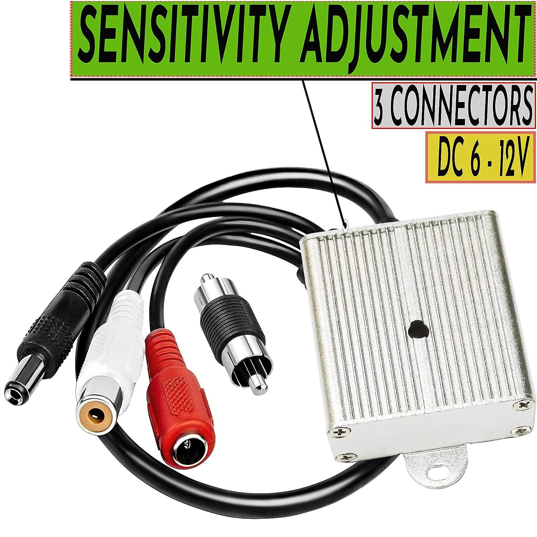 CCTV Microphone Security Audio Outdoor Surveillance RCA High Sensitive Preamp