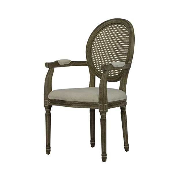 Louis Weathered Cane Round Chair (Set of 2)
