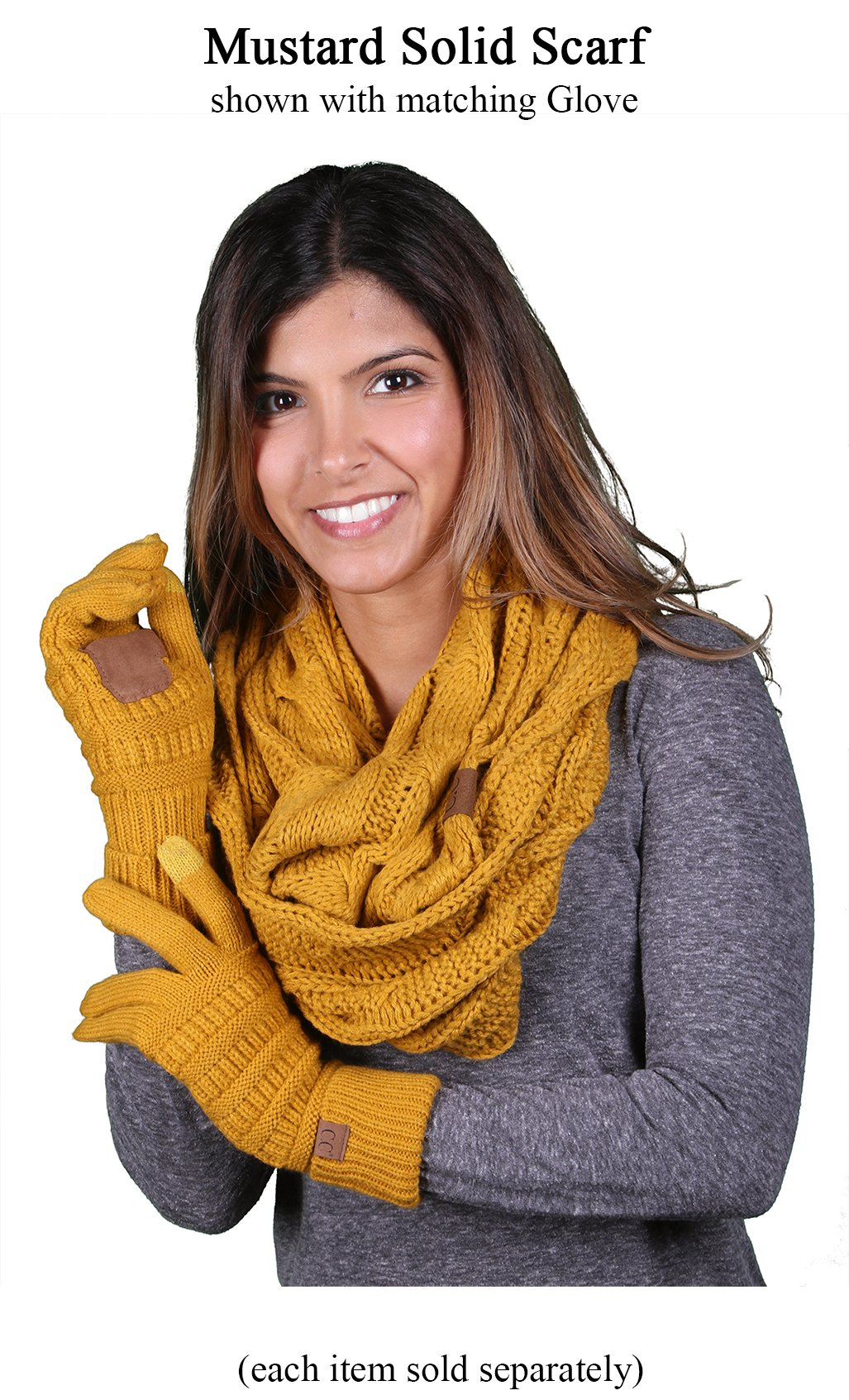 S1-6100-72 Funky Junque Infinity Scarf - Mustard (Solid) by Funky Junque (Image #5)