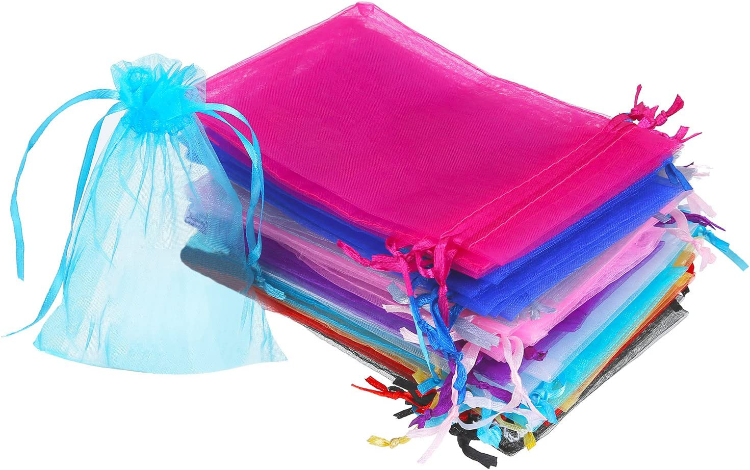 Mudder 50 Pieces 4 by 6 Inch Organza Gift Bags Drawstring Jewelry Pouches Wedding Party Favor Bags (Multicolor)