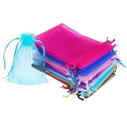 50 Piezas 4 por 6 Pulgadas Bolsa de Organza de Regalo Bolsa de Joyas con Cordón Bolsa de Favores de Fiesta de Boda (Multicolor)