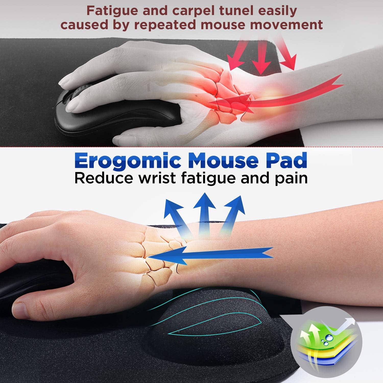 Gimars Large Smooth Superfine Fibre Memory Foam Ergonomic Mouse Pad