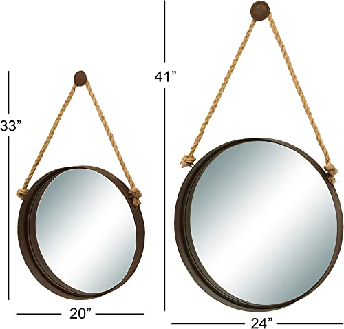 Deco 79 Coastal Round Metal Framed Wall Mirrors with Rope Hangers, 24 and 20 Diameter, Brown