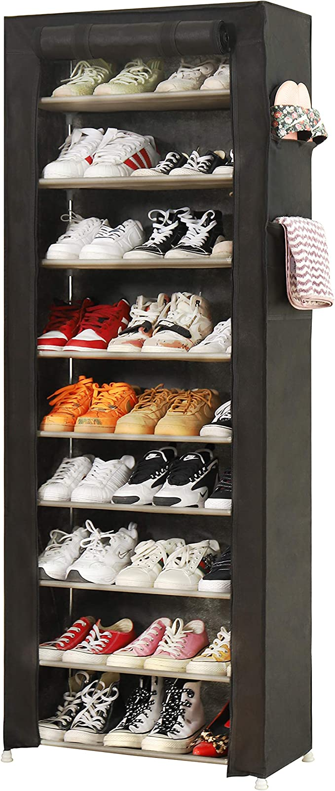 Pengke Large Shoe Rack Shoe Storage Organizer Cabinet Tower With Dustproof Cover Closet Shoe Cabinet Tower 9 Tiers Black Amazon Co Uk Diy Tools