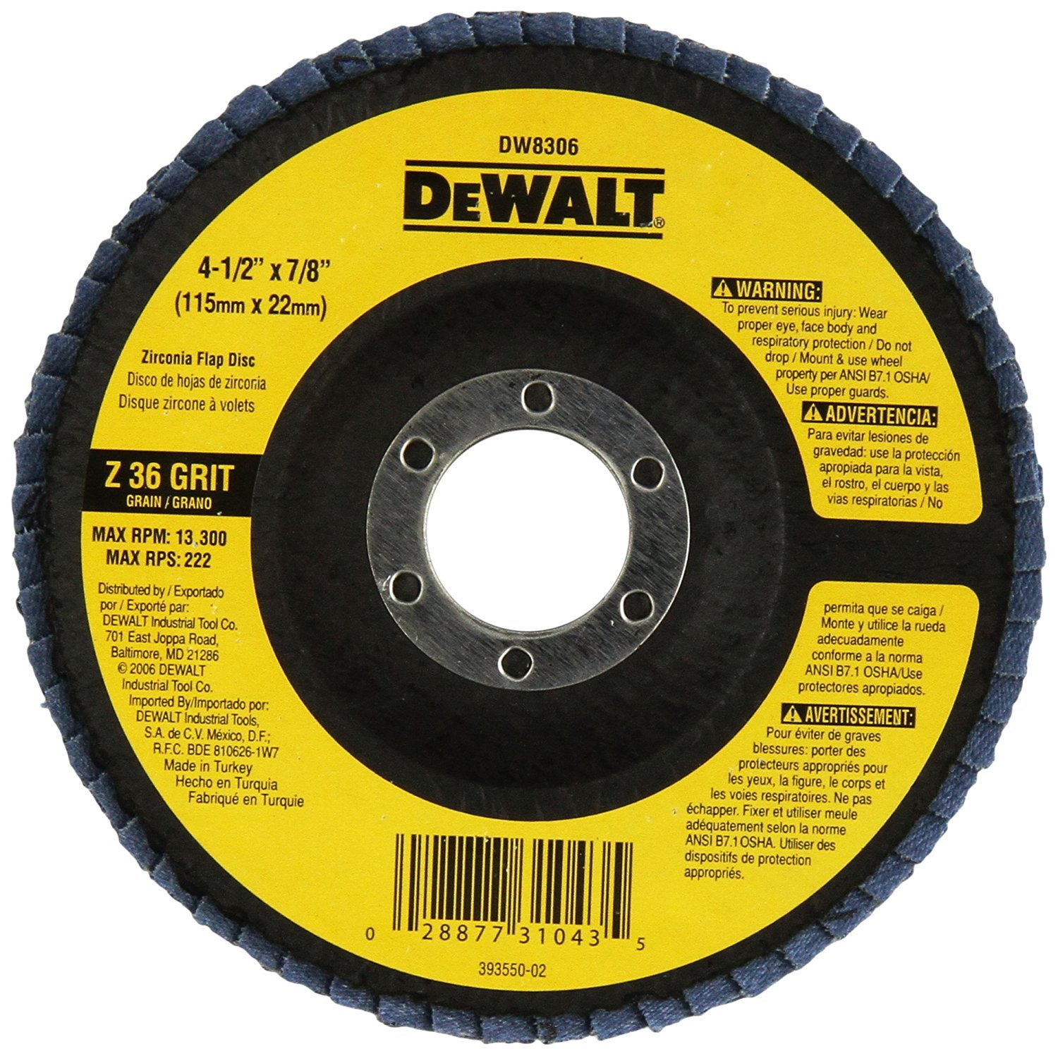 Dewalt DW8306 4-1/2-Inch by 7/8-Inch 36 Grit Zirconia Angle Grinder Flap Disc 10 Pack: Amazon.com: Industrial & Scientific