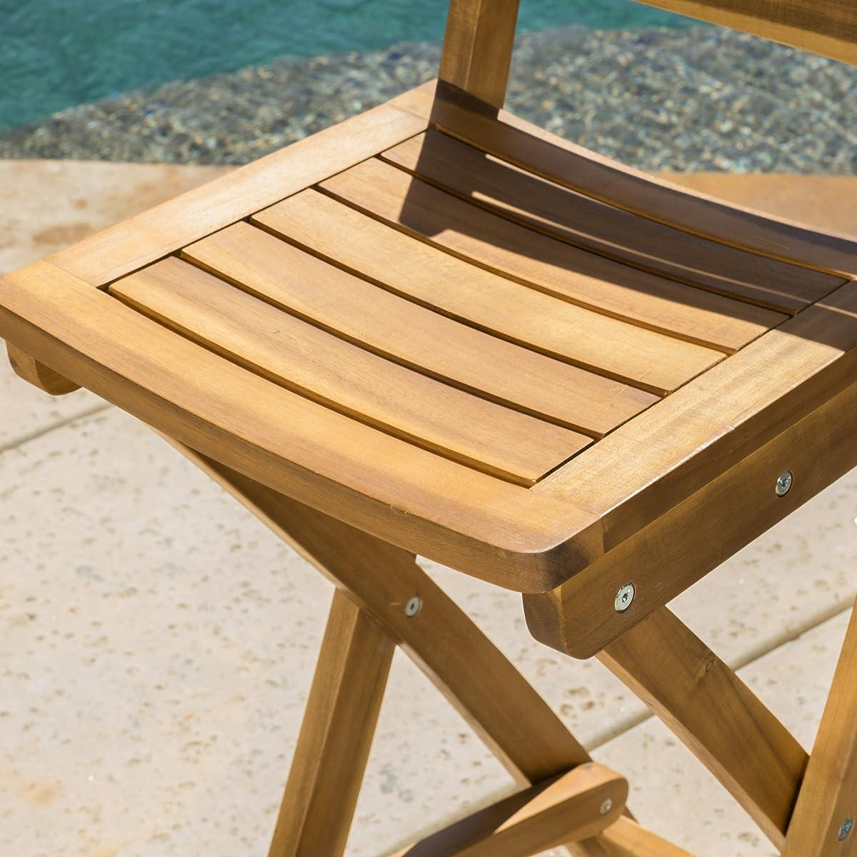 Atlantic Outdoor Folding Wood Bar Stools (Set of 2)