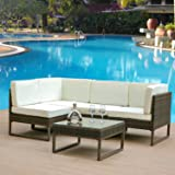 Leisure Zone 5 PCs/8 PCs Rattan Corner Sofa Set Sectional Garden Sofa Patio Sofa Weatherproof Outdoor Garden Patio Conservatory Furniture Set with Coffee Table, 2 Year Warranty (5 Pcs(Brown))