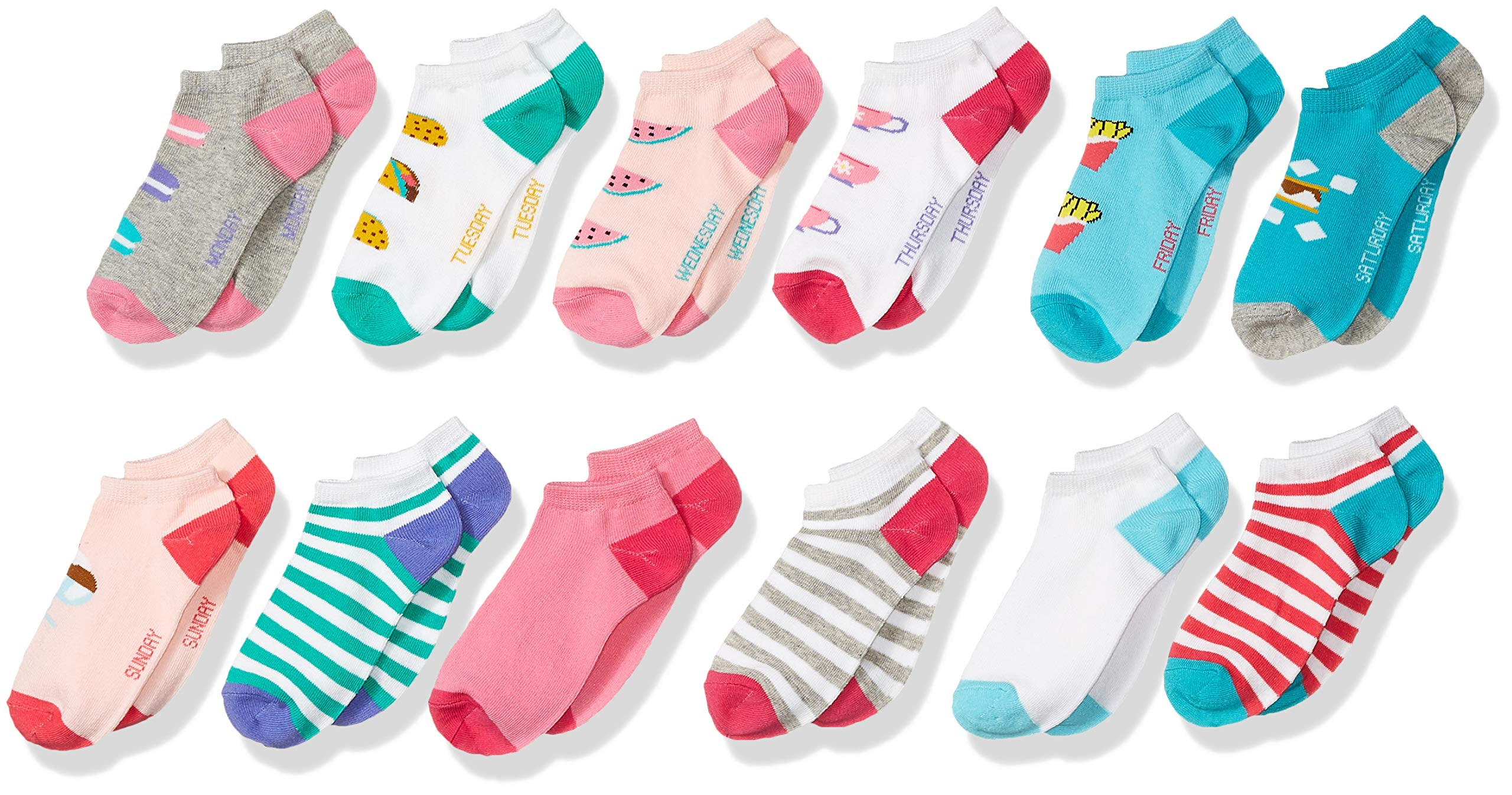 Spotted Zebra Kids' 12-Pack Low Cut Socks, Food Days of the Week , Large (3-6) by Spotted Zebra (Image #1)