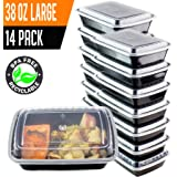 14 Pack- Chefible 38 oz Meal Prep or Bento Containers, Durable, BPA-free, Reusable, Washable, Microwavable, Perfect for Diet and Portion Control!