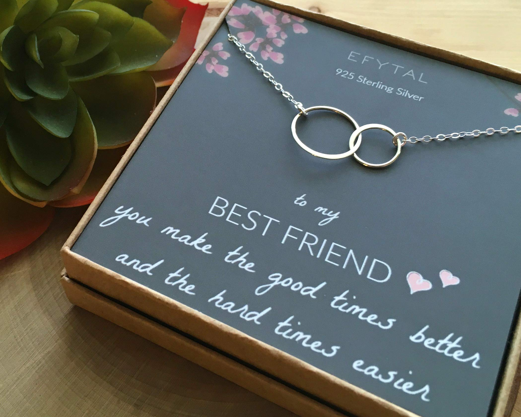 EFYTAL Best Friend Gifts, Sterling Silver Interlocking Infinity Circles Friendship Necklace Gift for Friends BFF                             by EFYTAL (Image #6)