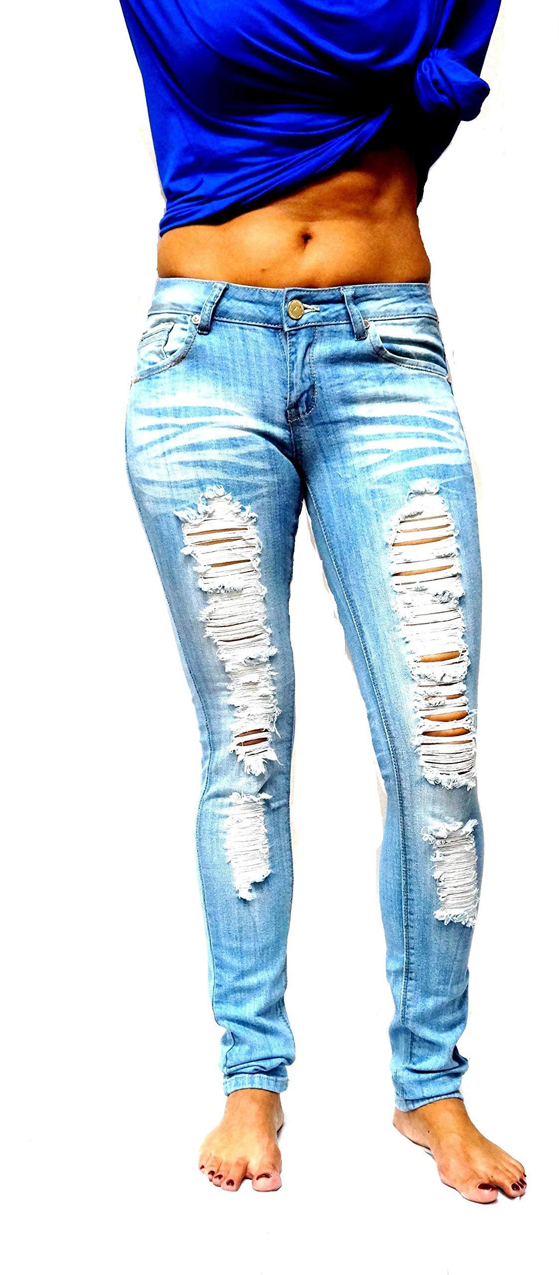 Jack David Womens Distressed Denim Jeans Ripped Blue Skinny Destroy Stretch Jean Pants (15, K442H -Light Blue)