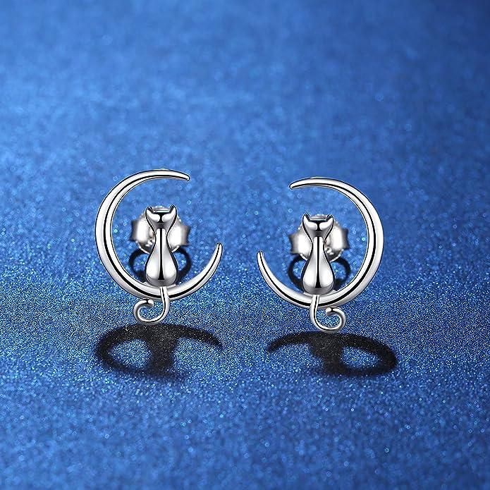 findout 925 sterling silver Cute Cat Love You on The Moon earrings(f1742) B9ODo
