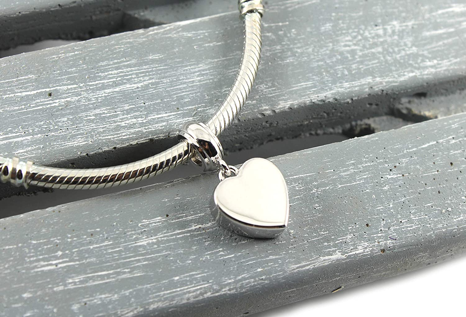 Solid Sterling Silver Heart Dangle Urn Charm Bead For European Bracelet Pandora Compatible Cremation Charm Fillable Jewelry Engravable Urn Amazon Co Uk Handmade