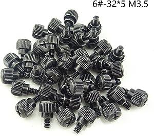 HONBAY 40PCS 6#-32x5 M3.5 PC Computer Case Thumbscrews Thumb Screws Black Zinc (40)