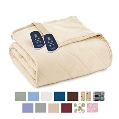 Thermee Micro Flannel Electric Blanket, Khaki, Queen