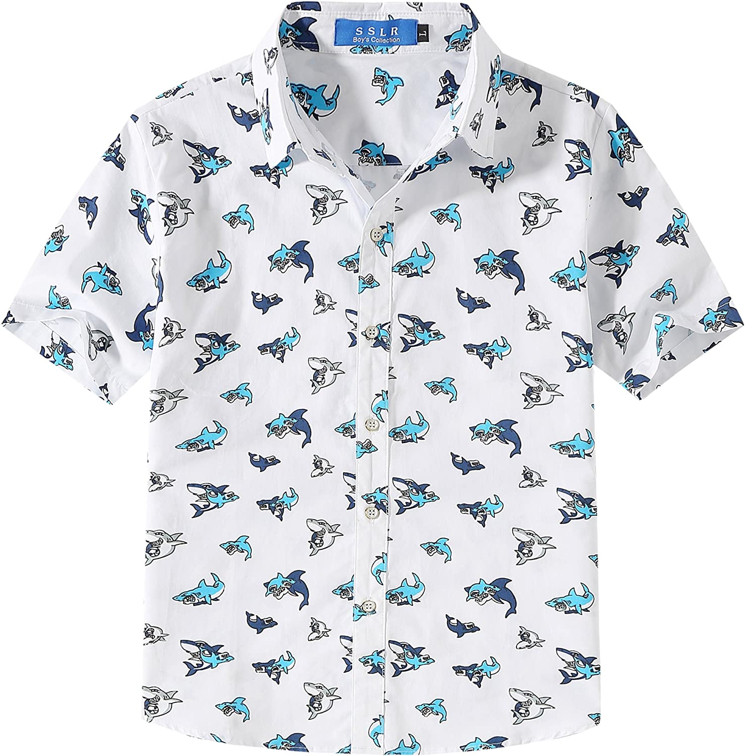 SSLR Big Boy's Shark Printed Casual Button Down Short Sleeve Shirts