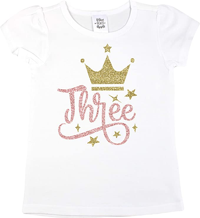 Amazon.com: Oliva Loves Apple tercer cumpleaños playera para ...