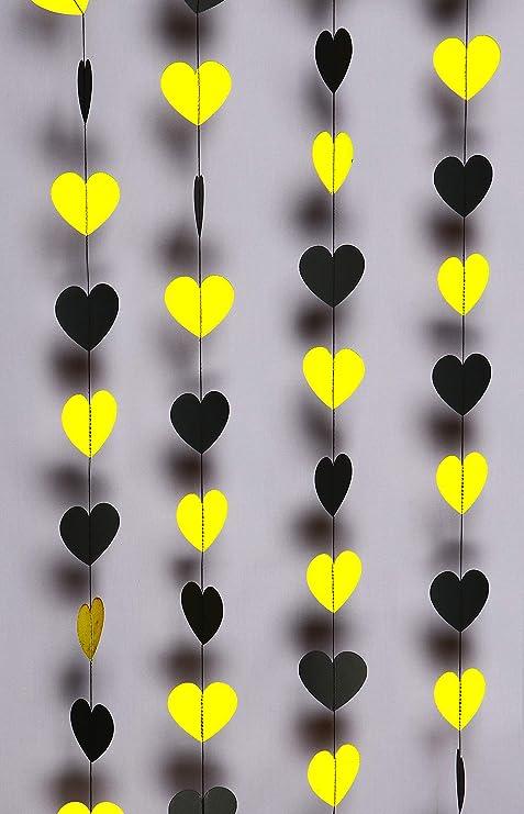 Guirnalda de papel en forma de corazón, color amarillo y ...