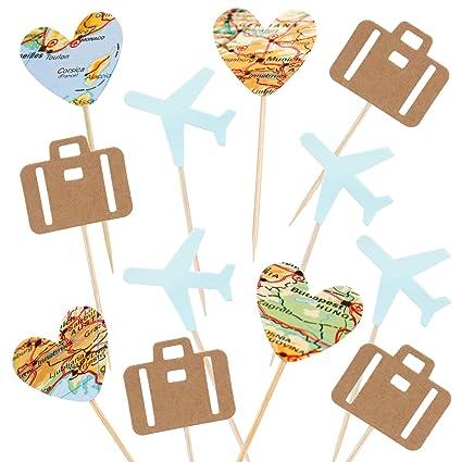 Paquete de 24 decoraciones para cupcakes con diseño de mapa ...