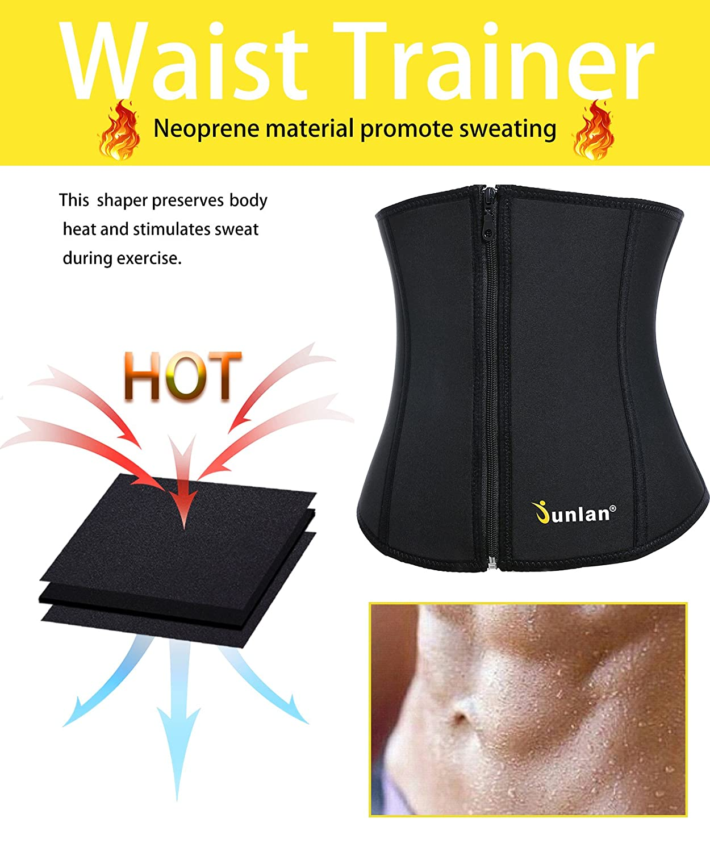 761df8ab050 Amazon.com   Junlan Women Weight Loss Waist Trimmer Trainer Belt Sauna  Neoprene Workout Corset Body Shaper Tummy Ab Cincher Shapewear   Clothing
