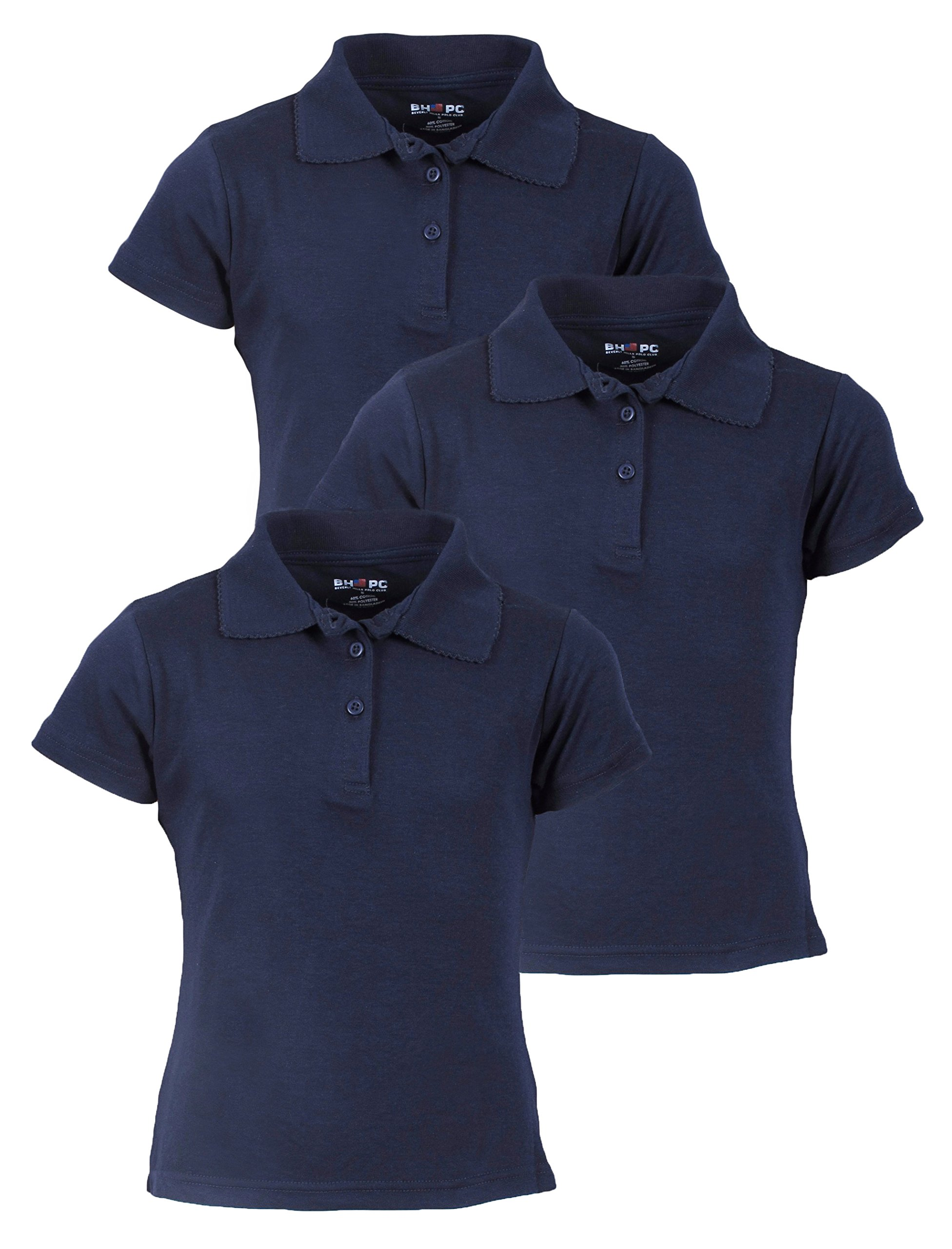 Beverly Hills Polo Club 3 Pack of Girls' Short Sleeve Interlock Uniform Polo Shirts, Size 14, Navy'