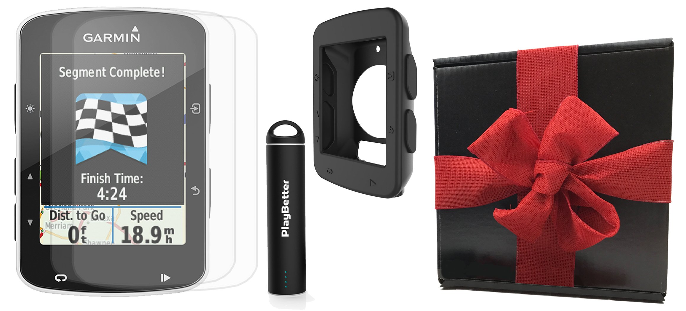 Garmin Edge 520 Gift Box Bundle   with PlayBetter Silicone Case, Portable Charger & HD Screen Protectors   Bike Mounts   GPS Bike Computer   Gift Box (Black, GPS Only)
