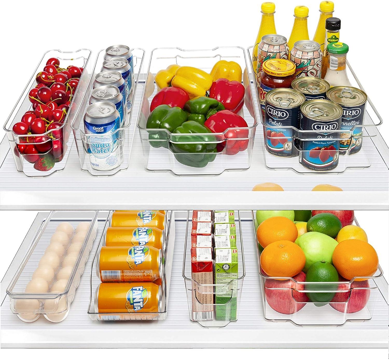 HOOJO Fridge Organizer Bins, Set of 8 Plastic Refrigerator Pantry Organizers for Freezer and Pantry, Kitchen Cabinets, BPA-Free, Clear