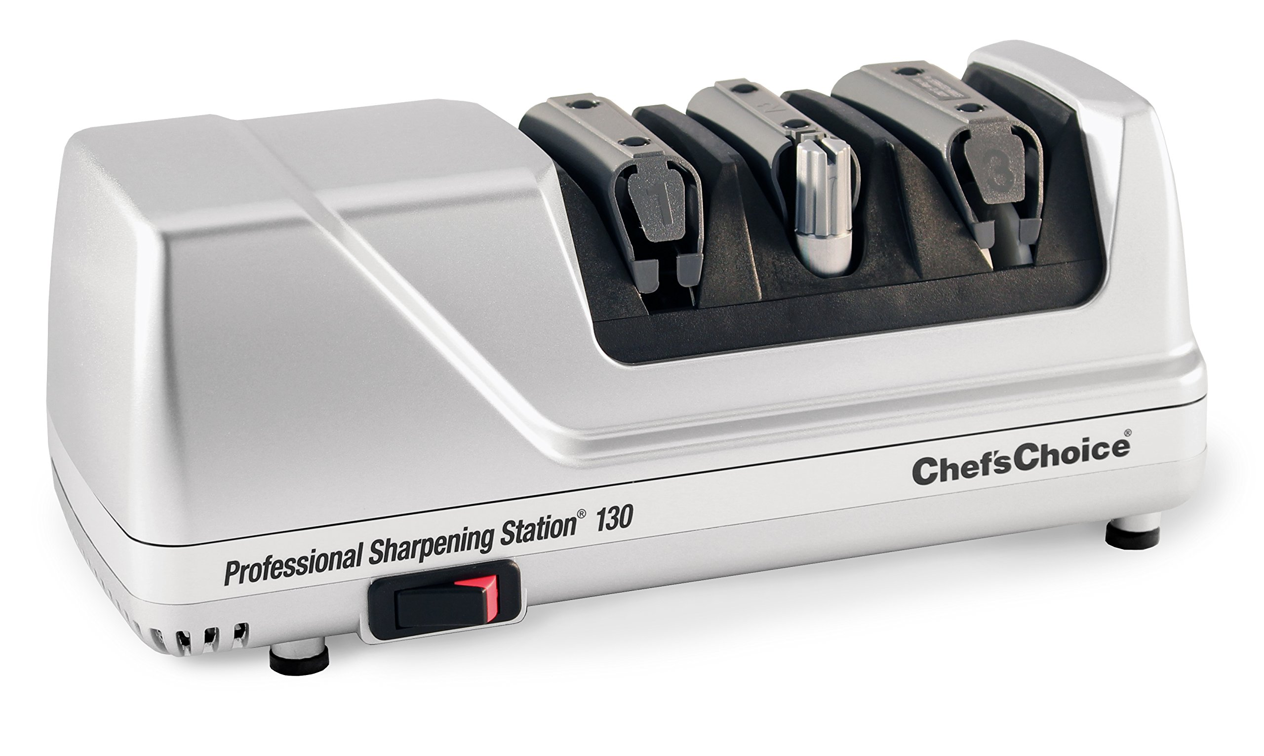 Chef'sChoice Professional Electric Knife Sharpening Station for Straight and Serrated Knives Diamond Abrasives and Precision Angle Guides, 3-Stage, Silver