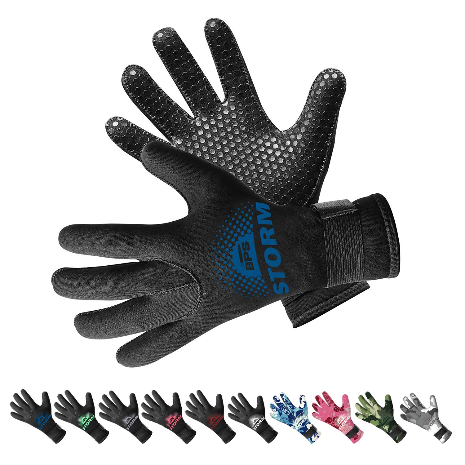 BPS 3mm Neoprene Dive Gloves with Anti Slip Palm - Five Finger Gloves for Sailing, Spearfishing, Paddleboarding, and Other Water Activities - for Men and Women (Black/Snorkel Blue, Medium) by BPS