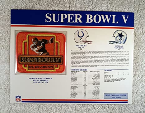Patch Cowboys Bowl Colts Nfl V Vs 1971 Baltimore Card Mvp Howley Statistics Complete - Super With Dallas Official Chuck