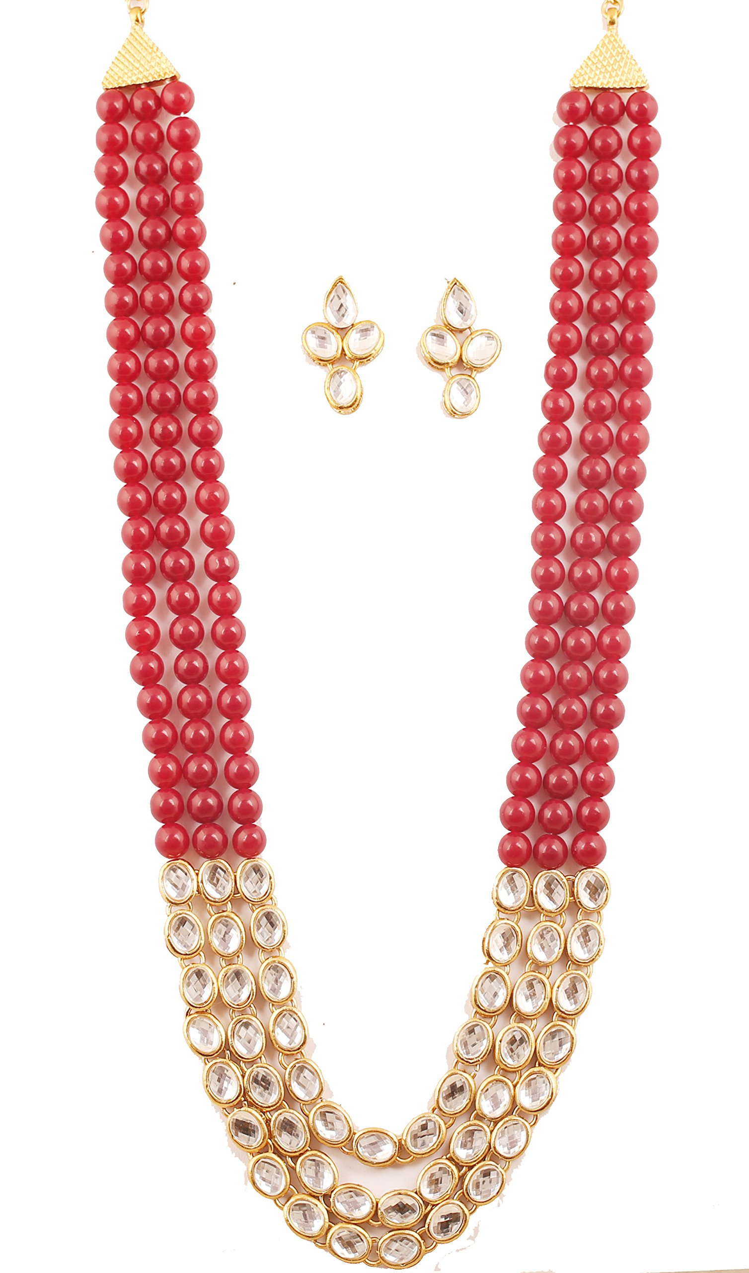 NEW! Touchstone ''Contemporary Kundan Collection'' Indian Bollywood Majestic Mughal Craftsmanship Kundan Look Identical Red Onyx Triple Line Strings Long Wedding Designer Jewelry Necklace Set In Antique Gold Tone For Women.