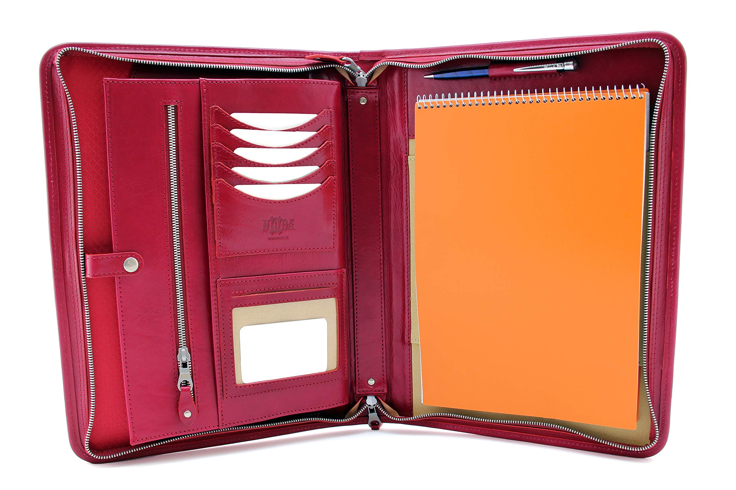 Noda Professional Padfolio - Resume Portfolio/Business Portfolio with Secure Zippered Closure, Expandable Document Organizer & Writing Pad, Italian Genuine Leather Conference Folder A4 (red)