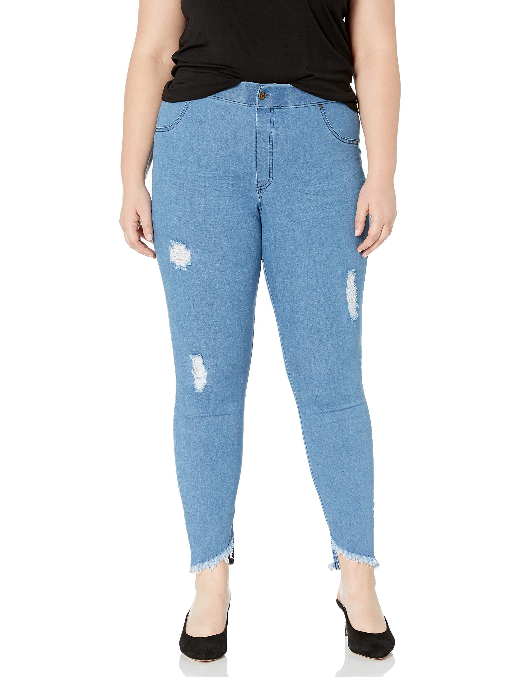 HUE Women's Plus Size Angled Hem Denim Skimmer Leggings (Stonewash - Solid, 1X) by HUE