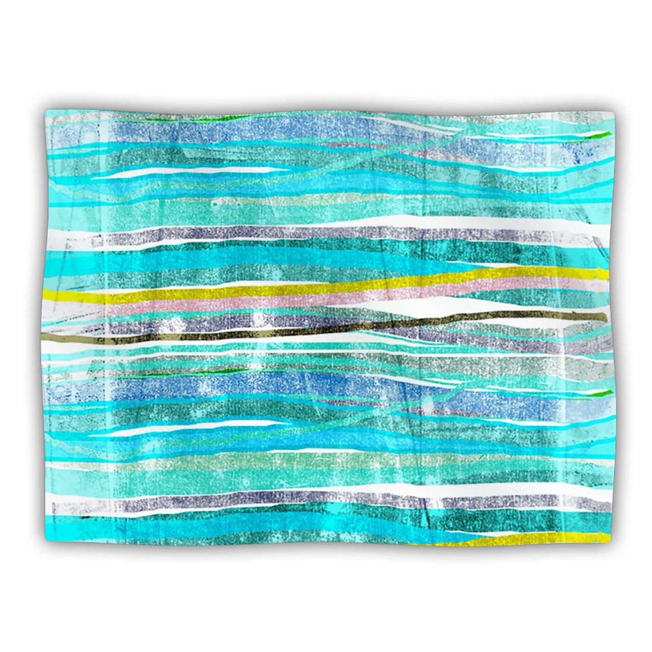 Kess InHouse Frederic Levy-Hadida ''Fancy Stripes Aqua'' Pet Blanket, 40 by 30-Inch
